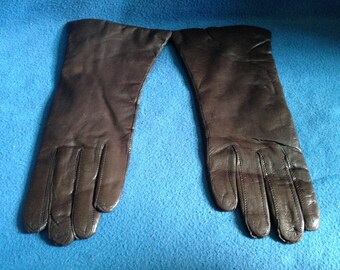 Vintage, Brown Leather Lined with Acrylic, Size 8 1/2, New Oldstock, Woman's Mid Century Party Gloves, 8.5
