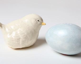 White Bird with Egg Salt and Pepper Shakers Glazed Ceramic