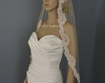 Bridal Veil with Alencon Style Re-embroidered 2 inch Lace, Wedding Veil, Blush White Light Ivory White and Off White