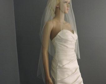 Sheer Wedding Veil Fingertip Double Veil Cut Clean Edge, Bridal Veil DT30/45X50CE