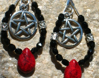 Black and Red Samhain Earrings with Pentacles and Celtic accent beads~Dark Goddess~Ritual Jewelry