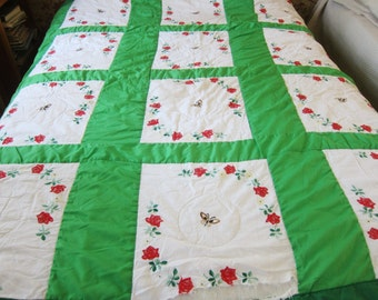 Vintage quilt,hand embroidered quilt, cutter quilt, vintage patchwork,butterfly bed cover, emerald green