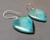 Chrysocolla Heart Earrings. Sterling Silver. Dangle Earrings. Gemstone Earrings. Self-Forgiveness Earrings. Handmade Earrings.