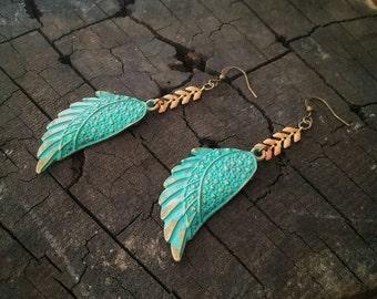 Boho Dangle Earrings Peach Coral Chevron Chain Bohemian  ~ Adeline