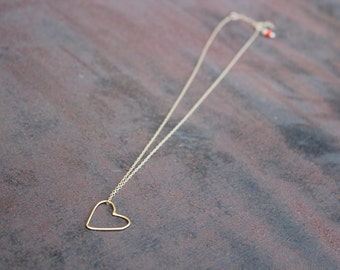 ZG-N-43 Gold Filled Wire Heart Necklace Organic Shape