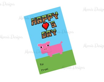 Boys Valentine's Day Cards, Printable Pig/farmValentine Class Card Tags with to From Label, Happy Valentine's Day - Inspired by Minecraft
