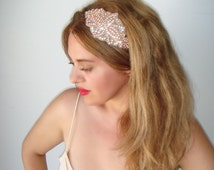 Weddings, Rose gold headband, Wedding headband, Rhinestone headband, headband, Bridal headpiece, Accessories, Bridesmaid, Rose gold,  VENICE