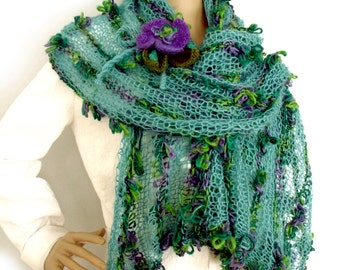Shawl wrap, Knit stole, Loose knit scarf, Boho shawl, Fall scarf, Fall fashion, Fashion trend, Fall accessory, Flower brooch,  Gift for her