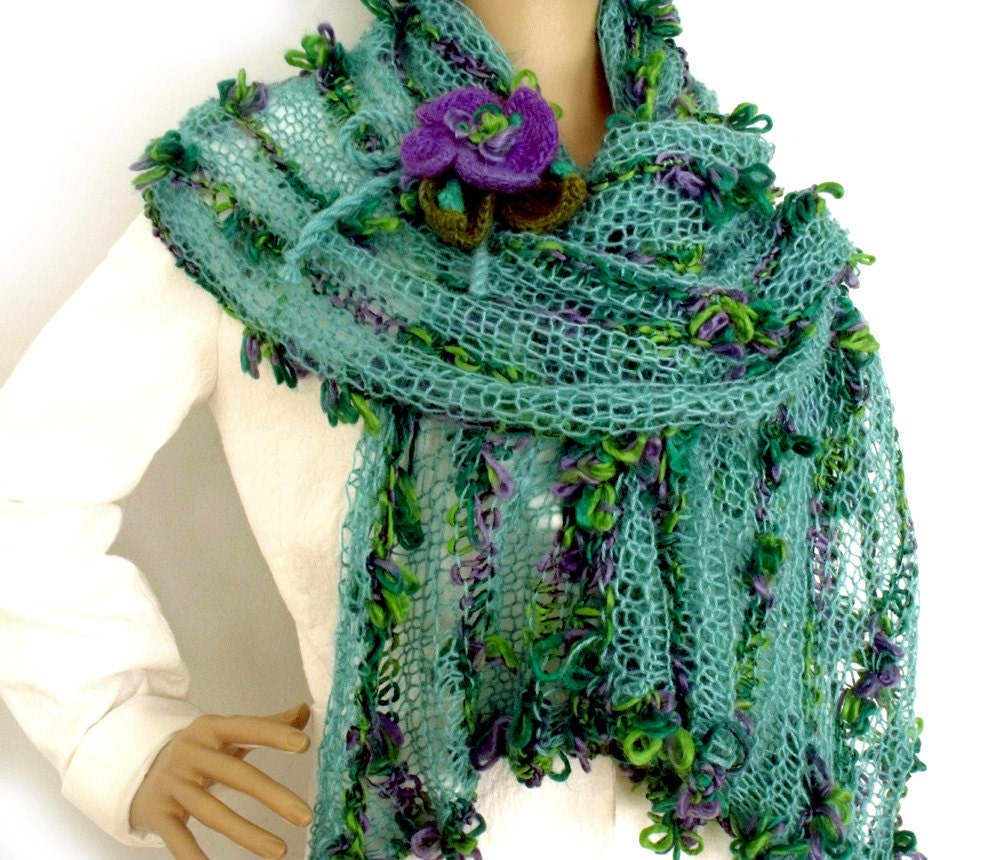 Loose Knit Shawl Pattern : SALE Shawl wrap Knit stole Loose knit scarf Boho shawl
