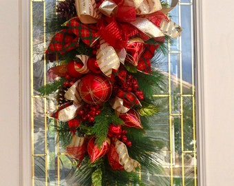 Beautiful Christmas Tear Swag in Reds and Gold,Christmas Door Decoration,Christmas Swag,Christmas Wreath,Poinsettias and ornaments decor