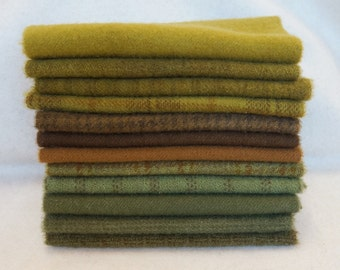 Earth Tones - Brown - Green Hand Dyed and Felted Wool Fabric Number Perfect for Quilting, Applique, Rug Hooking and Sewing by Quilting Acres