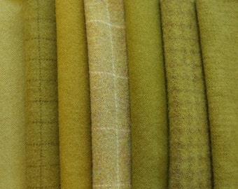 Moss Green Wool Fabric - Hand Dyed and Felted Wool Bundle Fabric - Applique - Rug Hooking