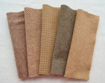 Tan - Brown Hand Dyed Felted Wool Fabrics - Wool Applique, Quilting, Sewing- Primitive Rug Hooking Wool - by Quilting Acres