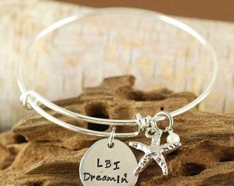 ON SALE Beach Jewelry - Hand Stamped Bracelet - Long Beach Island Jewelry - Personalized Bangle Bracelet - Starfish Jewelry