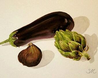 Eggplant Artichoke Fig Still life | Kitchen Art | Small Art