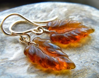 14k yellow gold filled orange brown Autumn leaf earrings - Handmade jewelry - Fall Fashion