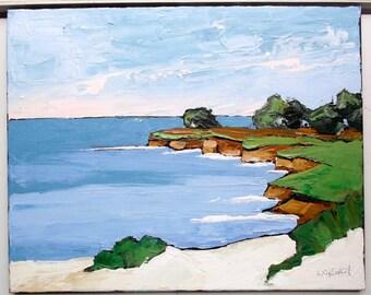 Impressionist CALIFORNIA Plein Air Carmel Pacific Ocean Landscape Monterey Bay Seascape Lynne French16x20