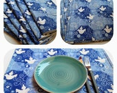 Placemats, Set of 4, Blue And White Doves Of Peace, Quilted, Blue Tablecloth, Blue White Placemats, Blue Tablecloth, Quiltsy Handmade