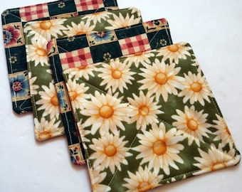 CIJ Fabric Coasters Daisy Flower Drink Coasters Beverage Coaster Set of 4 Reversible Coaster Shower Gift House Warming Gift Quiltsy Handmade