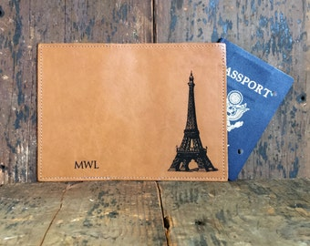 Leather Passport Cover - Eiffel Tower