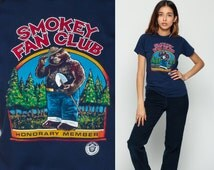 Retro TShirt SMOKEY MOUNTAINS Shirt Smokey Bear Vintage National Park Animal T Shirt 80s Travel Tee Graphic Print Blue Small