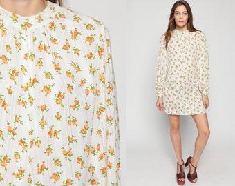 Floral Shift Dress 60s Mod Mini White Flower Print Hippie Vintage 70s Gogo Cotton Twiggy Sixties Minidress Retro Long Sleeve Medium Large