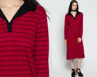 Polo Dress Button Up Striped 70s Shirtdress Midi Print Secretary Mod Long Sleeve Burgundy Red 1970s Vintage Preppy Black Medium