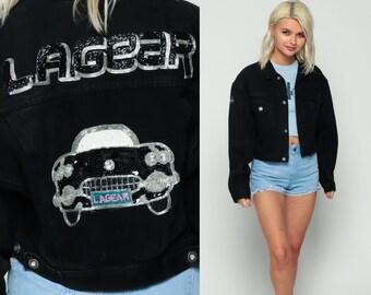 Black Jean Jacket 80s Denim LA GEAR Jacket BEADED Car Sequin Vintage Biker Cropped Button Up 1980s Boho Coat 90s Grunge Hipster Medium