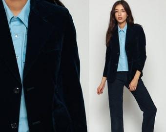 VELVET Blazer 80s Dark Blue Velvet Jacket Tailored Vintage Gothic 1980s Collared Indie Hipster Vintage Goth Professor Retro Navy Small xs