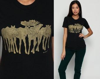 Moose Shirt 80s Animal TShirt GOLD Vintage Retro T Shirt Graphic Tee Metallic Wilderness Canada Screen Print 1980s t shirt Small