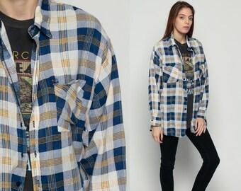 Grunge Flannel Shirt Plaid Shirt 80s Button Down Up White Blue DISTRESSED Vintage Oversize Lumberjack Long Sleeve Retro Large