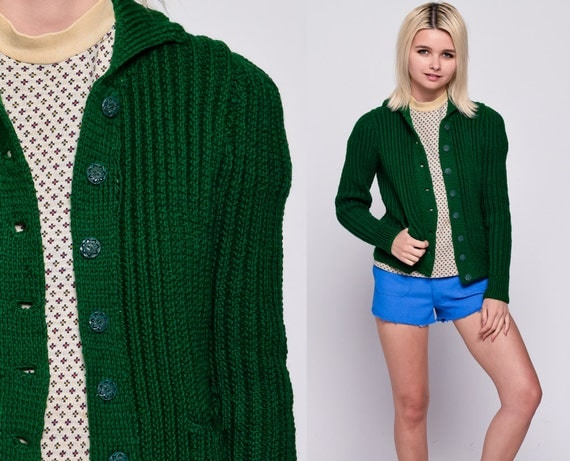 Green Cardigan Sweater 80s Dark Grandma 1980s Button Up Knit