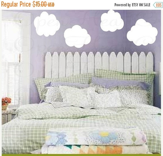 ON SALE Cloud Wall Decals - Set of 4 Vinyl Wall Graphics for Baby Nursery Kids Children Play Room Decor NW0023