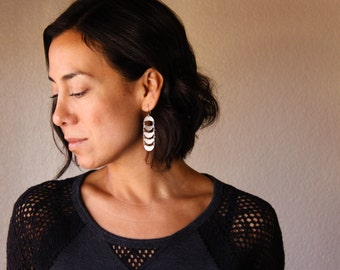 """Crescent moon shape dangle earrings handmade of recycled sterling silver shapes connected into a waterfall arrangement - """"Crescent Earrings"""""""