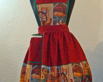 County Fair Rooster And Chicken Full Apron