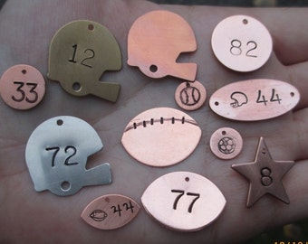 Copper,Brass or Nickel Football Helmet Stampings,Number Disc,Oval Link,Star, Etvc.
