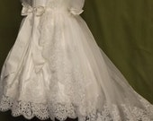 "Angela West ""Genevieve Marie"" First Communion Dress white silk with reembroidered lace"