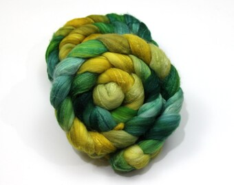 Merino Wool/ Superwash Merino/ Silk (40/40/20) Roving (Combed Top) - Hand Painted Roving for Spinning