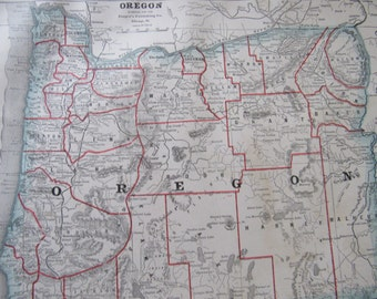 1891 Map- Oregon/California/Nevada- 3 Sided Atlas Page 21 x 14.5 in Great for Framing