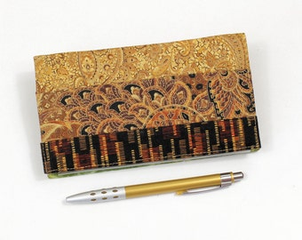 Patchwork Checkbook Cover with Pen Holder, for Duplicate Checks - Gold, Black, Green, Orange