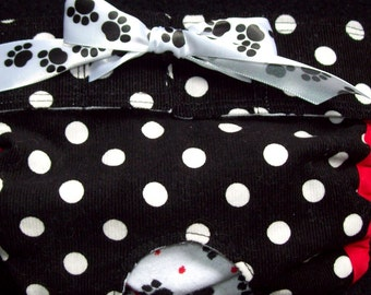 Dog Diapers Britches or Panties White Polka Dots on Black with Paw Ribbon