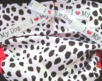 WATERPROOF Dog Diapers Britches or Panties I Love My Dog Ribbon on Black and White Print