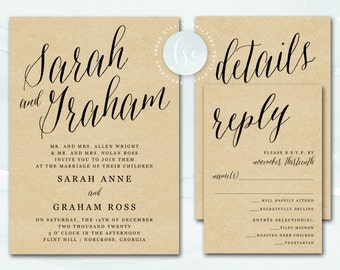 Printable Wedding Invitation, Rustic Kraft Wedding Invitation, Rustic Wedding Invite, Digital Invitation, Custom Color | DIGITAL PRINTABLE