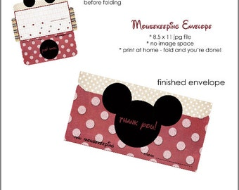 Disney Mousekeeping Printable Envelope, print at home, tip envelope, for Disney vacations, Mickey Mouse printable
