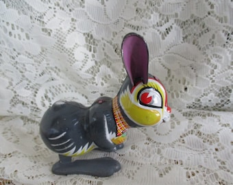 Tin Litho   Jumping Rabbit ~ Wind-Up Mechanical  Rabbit Working Bunny