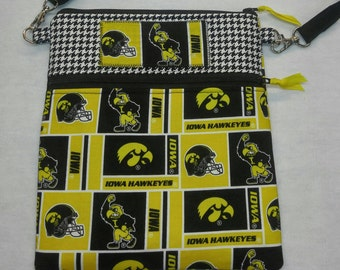 University of Iowa purse, messenger/cross body bag handmade