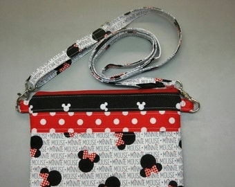 Disney Minnie Mouse purse, messenger/cross body bag & coin/card pouch handmade