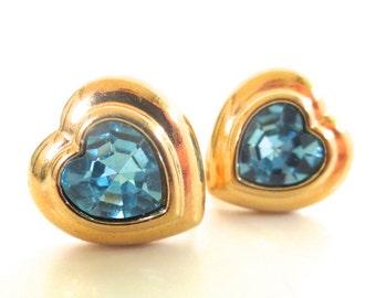 Vintage 80's Avon // Blue Rhinestone Heart Clip on Earrings