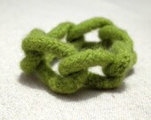 CLOSING SALE Felted Wool Chain Cuff Bracelet - Olive Green - Modern Boho Chic -  Textile Art Jewelry