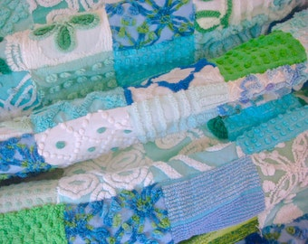 TRANQUIL WATERS ~ a Made-to-Order Vintage Cotton Chenille Patchwork Quilt